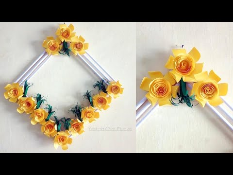 DIY Paper Flower Wall Hanging/Decoration   Easy Paper Wall Decoration Ideas