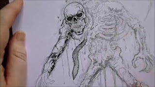 Drawing An Undead Skeleton Rising From The Grave