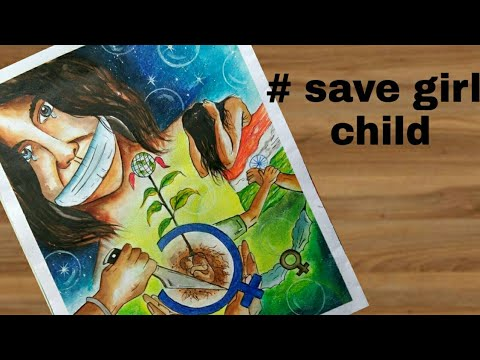 how to draw save girl child painting step by step for drawing rh youtube com save girl child poster paintings save girl child paintings