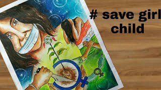 """Video How to draw """"save girl child"""" painting step by step for drawing competition.. download MP3, 3GP, MP4, WEBM, AVI, FLV Oktober 2018"""