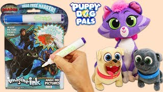 Puppy Dog Pals Bingo & Rolly Play with How To Train Your Dragon Imagine Ink Magic Marker Book!