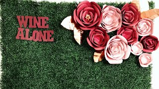 How To | Hanging Paper Flowers on Boxwood Hedge Grass Backdrop | DIY Sign Tutorial