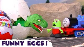 Thomas The Tank Engine Collects Funny Kinder Surprise Eggs From A Dinosaur With Funny Funlings Tt4u