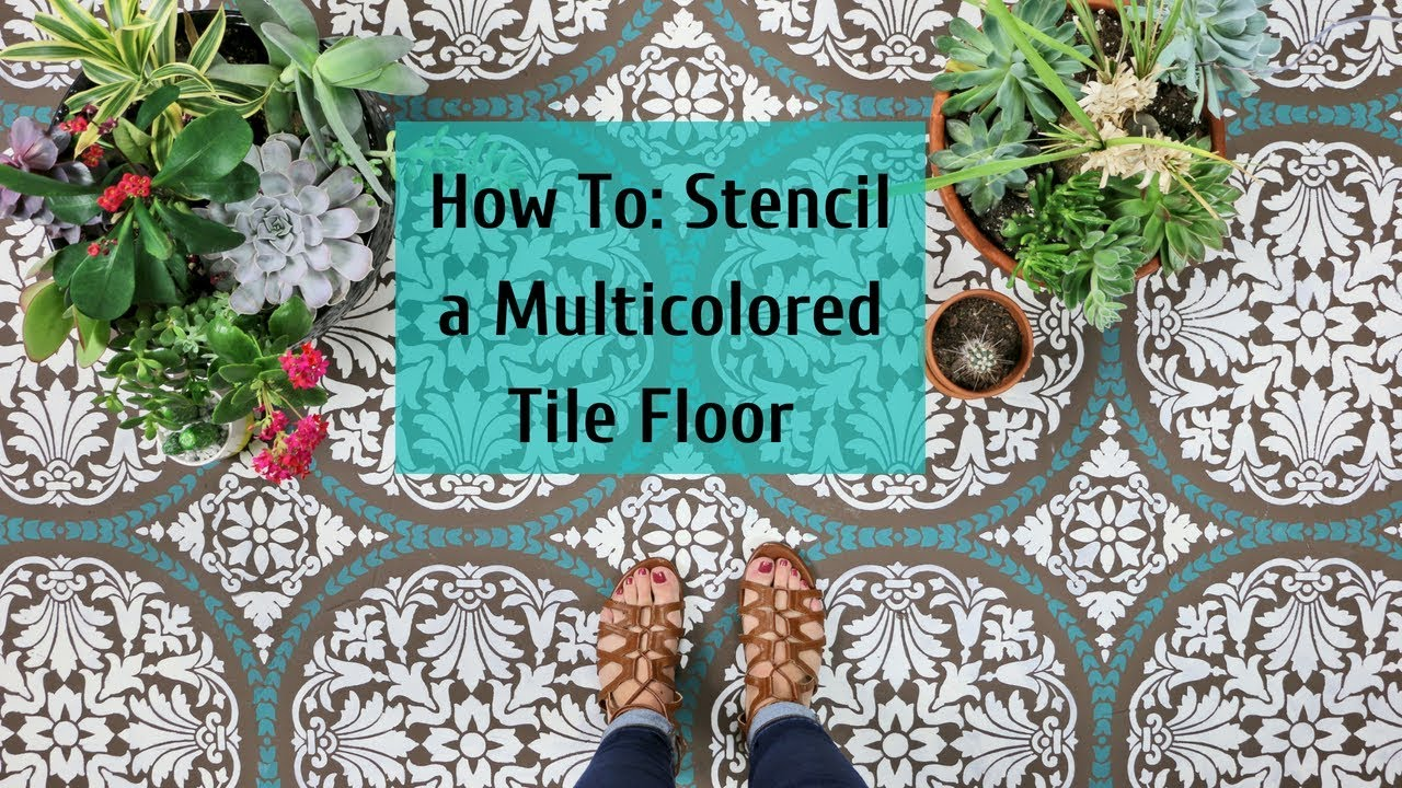 how to stencil a multi colored cement floor using a tile stencil by rh youtube com