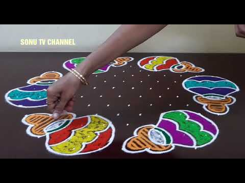 13 DOTS KOLAM || PONGAL POT KOLAM || INTERLACED DOTS || KOLAM FOR PONGAL || HOW TO DRAW ||