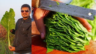 Amazing Cutting Skills | Cooking Worlds Biggest Spinach Leaves | Indian Food Making