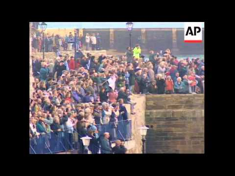 UK: ROYAL YACHT BRITANNIA SAILS INTO PORTSMOUTH FOR LAST TIM
