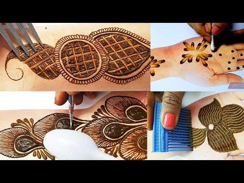 5 Simple Stylish Mehndi Design Tricks - Mehndi Designs for Hands ,Comb Trick - मेहँदी की आसान डिज़ाइन