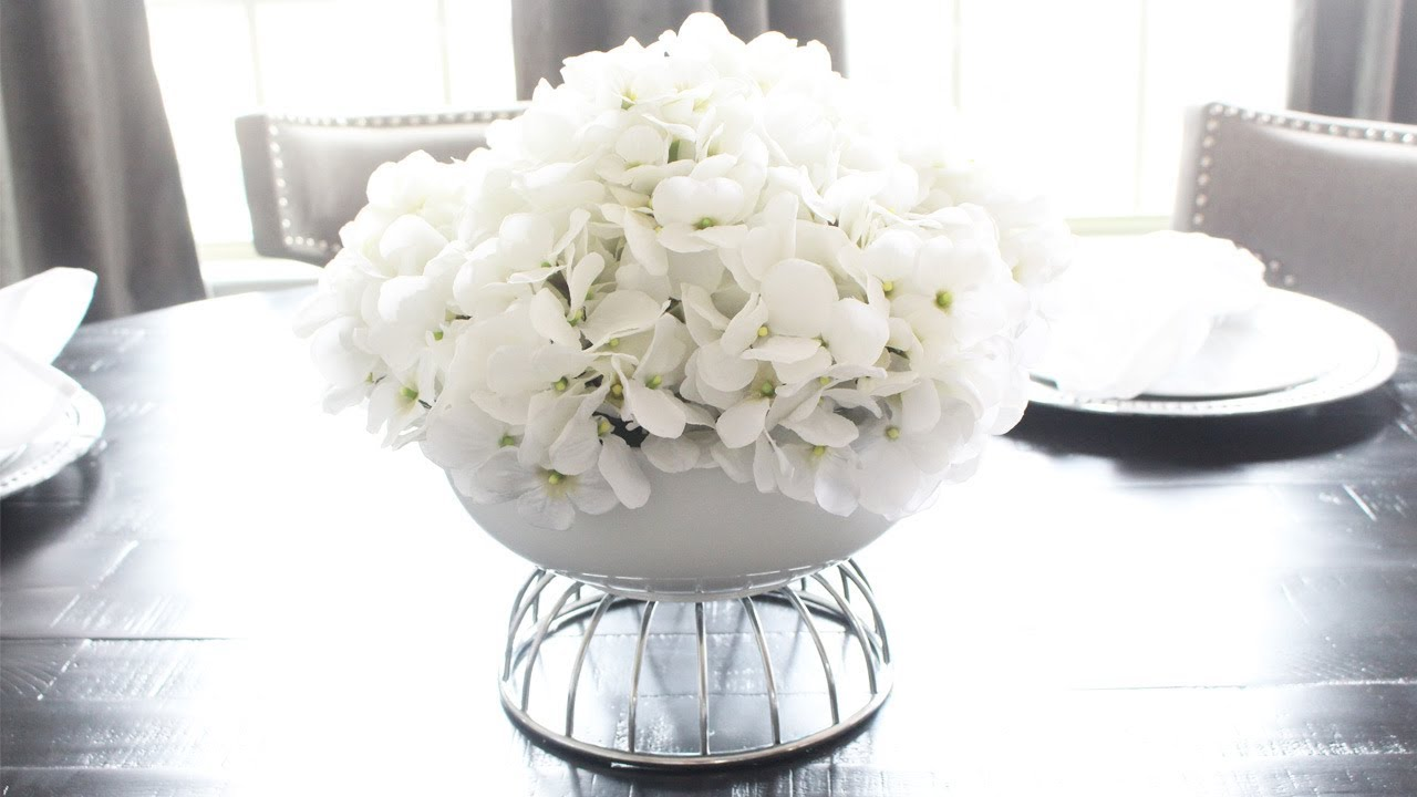 Diy white floral hydrangea centerpiece so simple to make