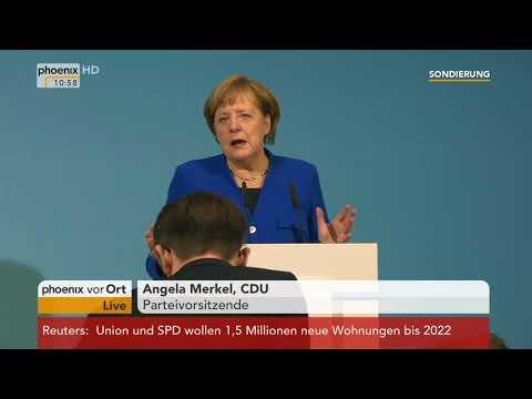 Martin Schulz, Angela Merkel und Horst Seehofer zum Ende der Sondierungen am 12.01.18