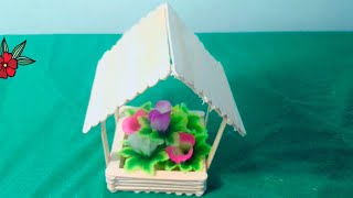 Hanging Flower House || How to Make House With Ice Cream Stick | Ice Cream Stick Art and Craft