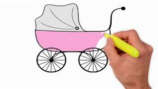Coloring Pages-how to draw a baby stroller step by step - how to draw baby girl stroller