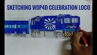 INDIAN TRAIN DRAWING 1000th WDP4D CELEBRATION LOCOMOTIVE TUGHLAKABAD SHED