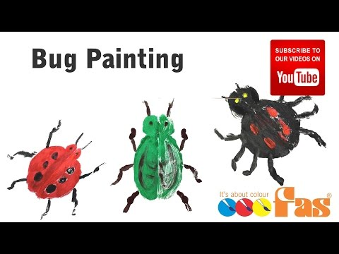 How to paint insects, bugs, ladybug by Folding Painted Paper | Easy Simple Painting for Kids