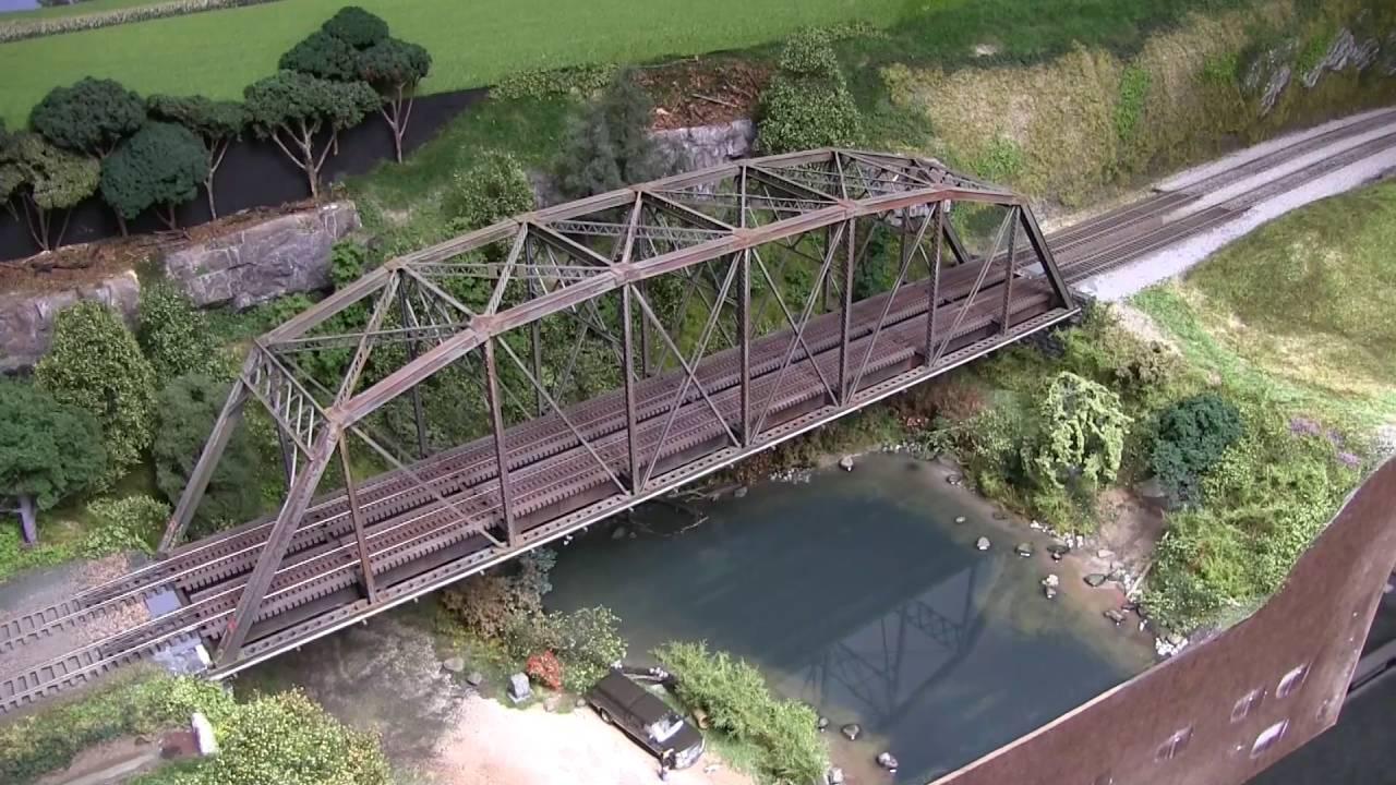 Model railroad update 76 pond scenery bridge installed youtube freerunsca Choice Image
