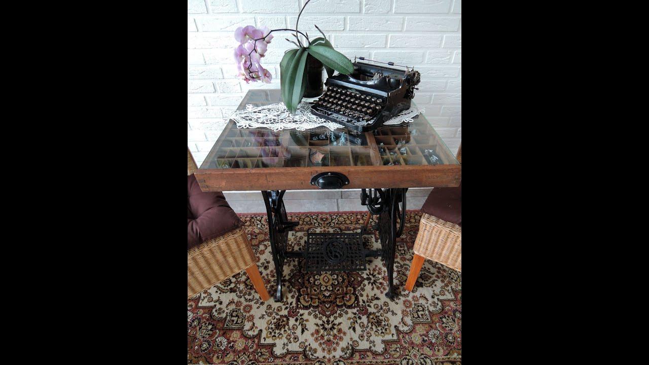 n hmaschinengestell mit setzkasten als tisch vintage upcycling youtube. Black Bedroom Furniture Sets. Home Design Ideas