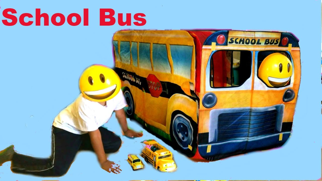 Giant school Bus tent Wheels and Toys on the Bus go around and round & Giant school Bus tent Wheels and Toys on the Bus go around and ...