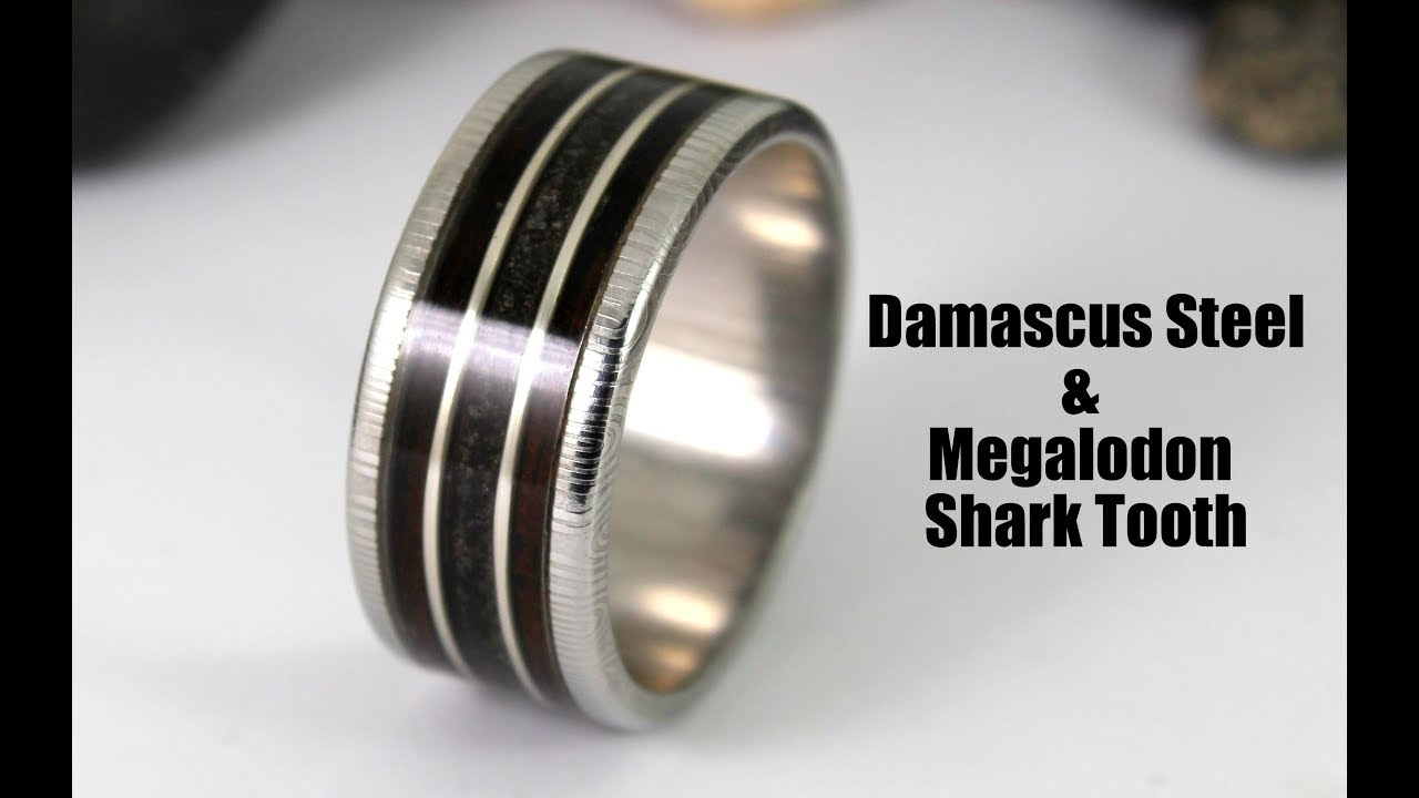 Damascus Steel Ring With Megalodon Shark Tooth Wood Inlay How To