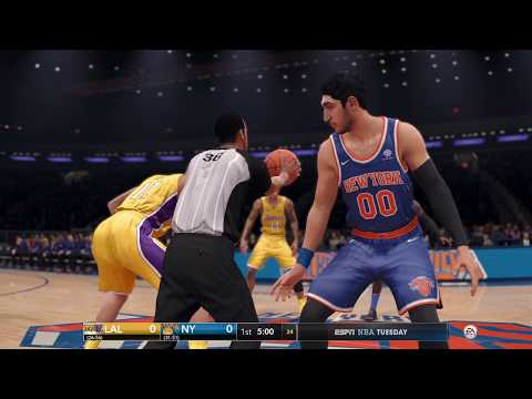 NBA LIVE 18 - Los Angeles Lakers vs New York Knicks - 1st Half - CPU vs CPU New Patch 1.08 - HD