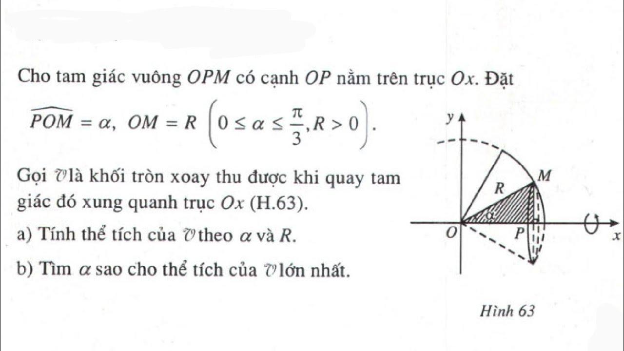Giải bài tập 5 trang 121 SGK Giải tích 12 (Tìm góc a sao cho thể tích của V lớn nhất)