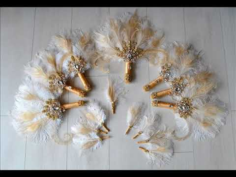 Bridal Brooch Feather Fan Bouquet - DIY