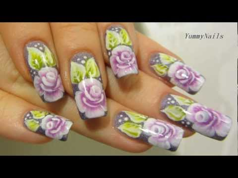 One Stroke Rose Garden Design In Violet, Purple, Lime Green And White Nail Art Tutorial