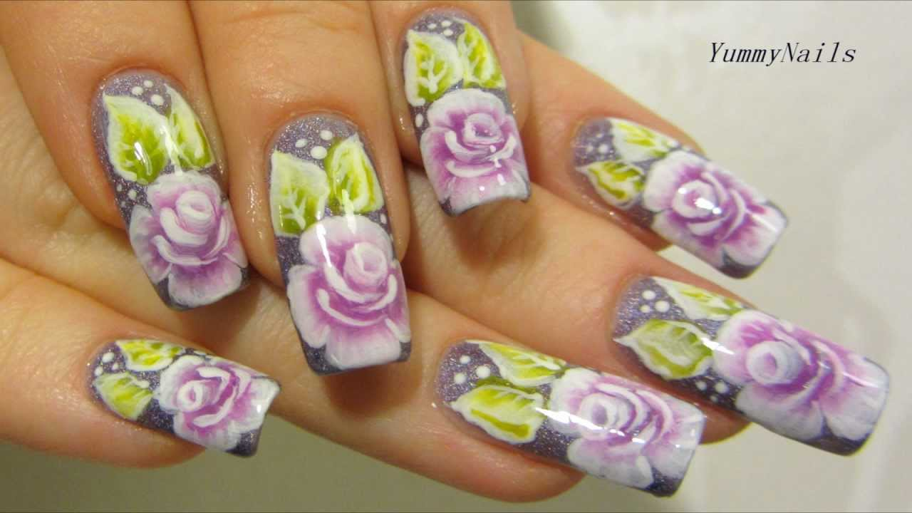 One Stroke Rose Garden Design in Violet, Purple, Lime Green and White Nail  Art Tutorial - YouTube - One Stroke Rose Garden Design In Violet, Purple, Lime Green And