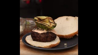 Smokey Burger with Grilled Avocado and Ranchero Marinade