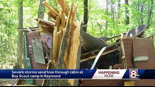 Thunderstorms send tree through cabin at Raymond Boy Scout camp