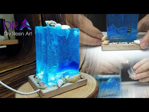 Diy Ocean Night Lamp With Epoxy Resin - Diy Resin Art