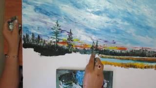 Пейзаж.Живопись маслом.Видео урок.