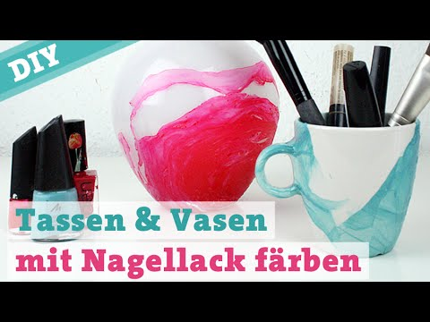 diy tassen vasen mit nagellack f rben porzellan bemalen wasserfarben watercolor effect youtube. Black Bedroom Furniture Sets. Home Design Ideas