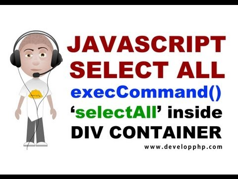 Div Select All Text Javascript Programming Tutorial execCommand selectAll