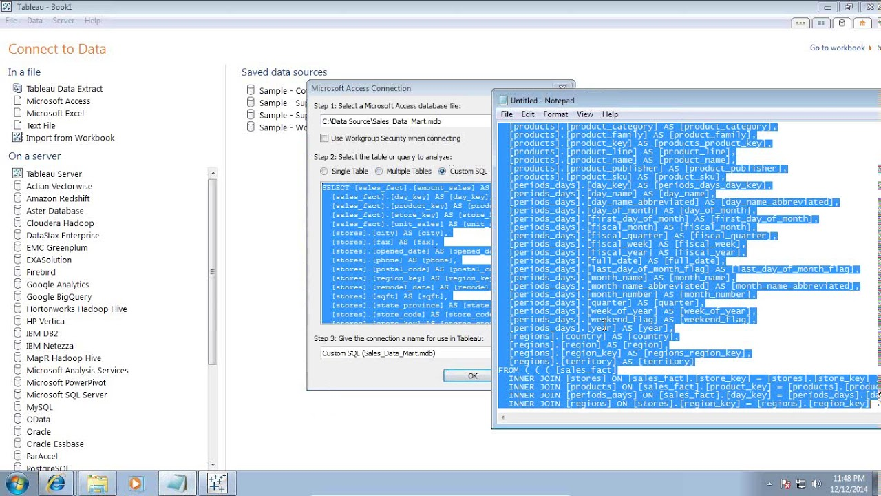 Tableau Custom SQL with Parameters