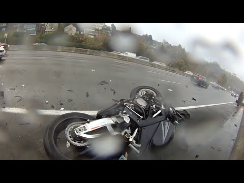 Rear-ended on a Motorcycle: 4-vehicle Collision