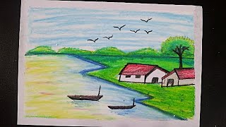Oil Pastel Scenery Easy || Scenery Drawing With Oil Pastel || Easy Nature Oil Pastel || Oil Pastel