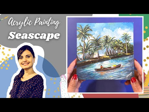 River landscape painting in acrylic | Village scene painting | acrylic painting demo
