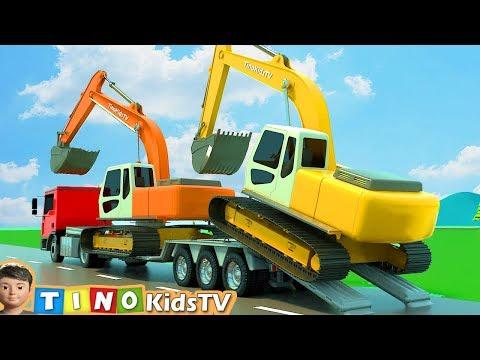 Excavator, Dump Truck & Cement Truck for Kids | Gas Station Construction for Children