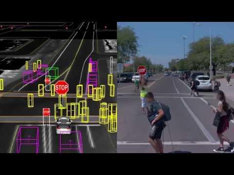 Waymo self-driving car at a crowded school crossing