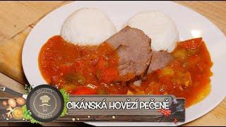 Cikánská hovězí pečeně - Lahodná kombinace zeleninové omáčky a prošpikovaného hovězího masa!