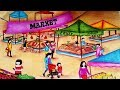 How To Draw Market Scenery step by step easy    Market Drawing