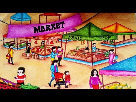 How To Draw Market Scenery Step By Step Easy Market Drawing Youtube