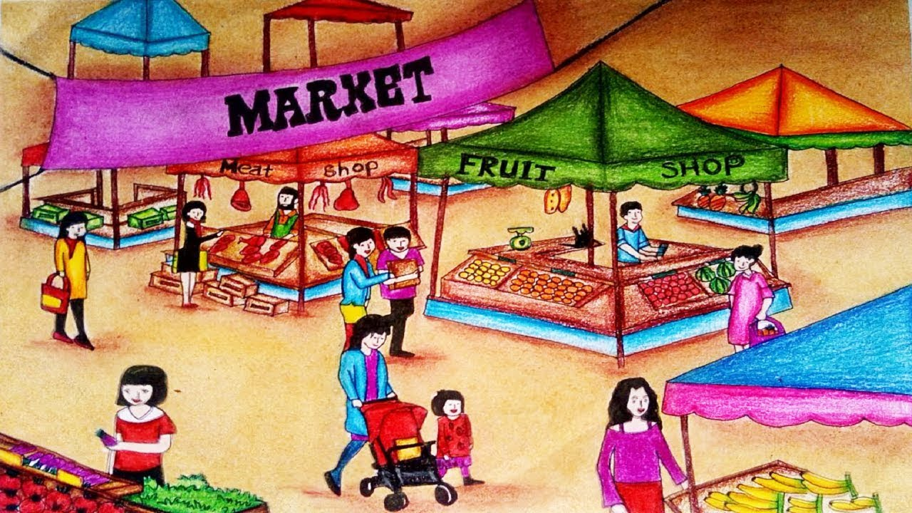 how to draw market scenery step by step easy market
