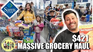 MASSIVE SAMS CLUB GROCERY HAUL | HUSBAND TAKES OVER THANKSGIVING WEEK GROCERY SHOPPING HAUL $421