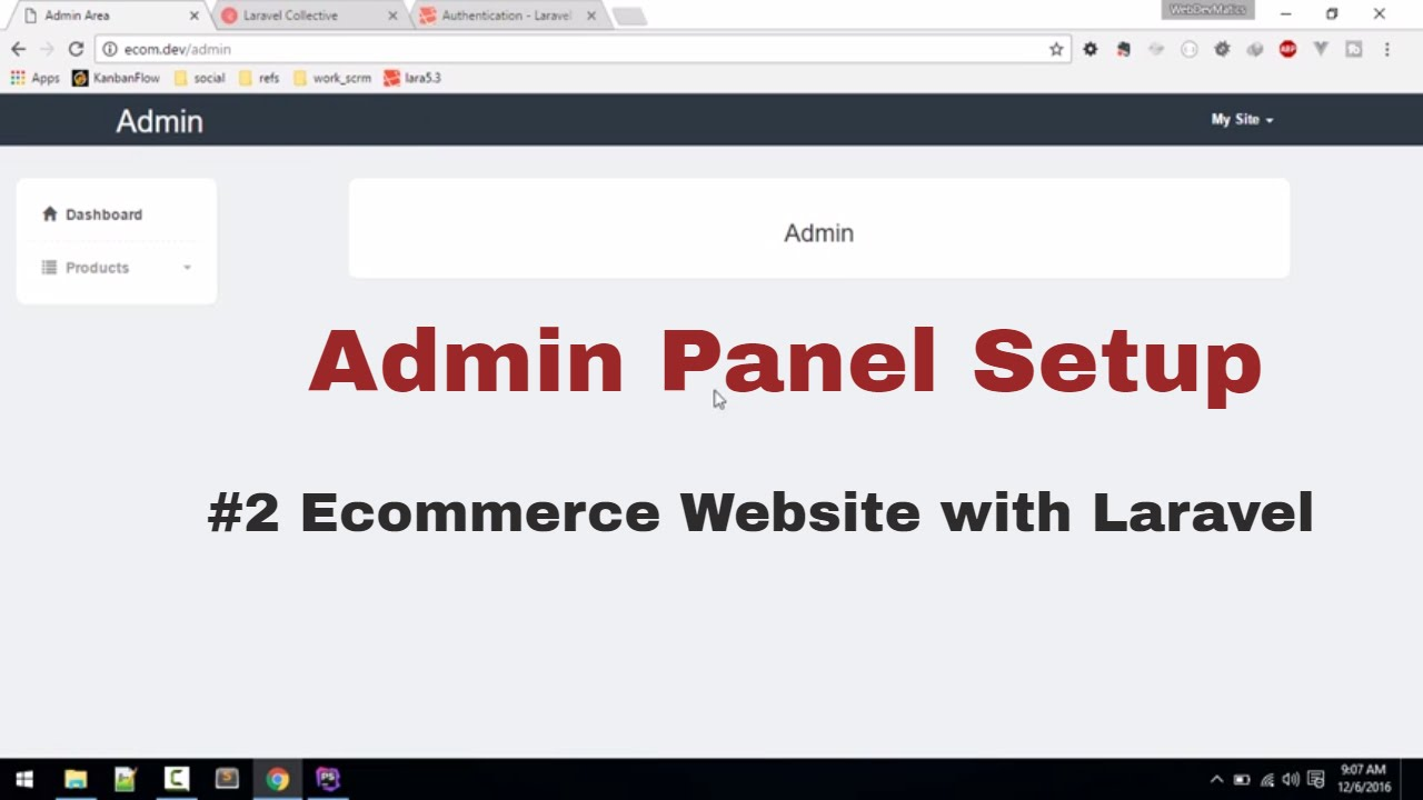 Admin Panel Setup with Authentication:Ecommerce website in Laravel ...