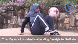 Malaysian woman gains popularity with freestyle football moves