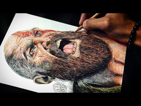 Drawing Kratos God Of War Caran D Ache Youtube