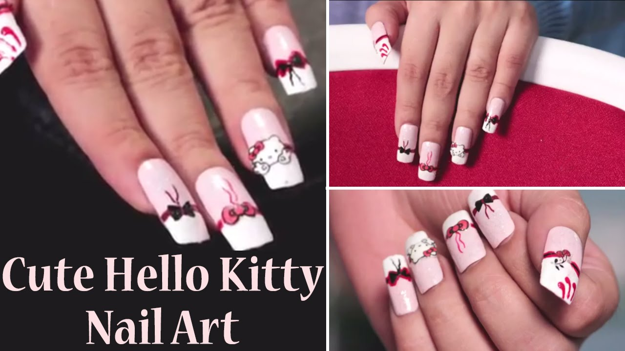 Hello Kitty Inspired Nail Art | Easy Nail Craft Designs - YouTube
