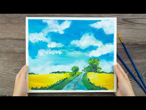 EASY Landscape Acrylic Painting with Cotton | Acrylic Tutorial Step by Step for Beginners