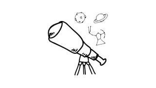 как нарисовать телескоп,how to draw a telescope,cómo dibujar un telescopio, télescope